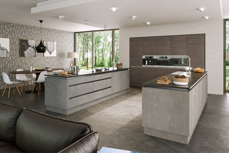 Grey brown ontario walnut light concrete kitchen Newton Mearns
