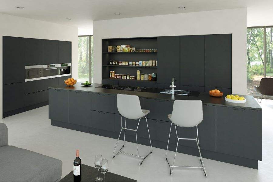 Matt graphite integra kitchen handless