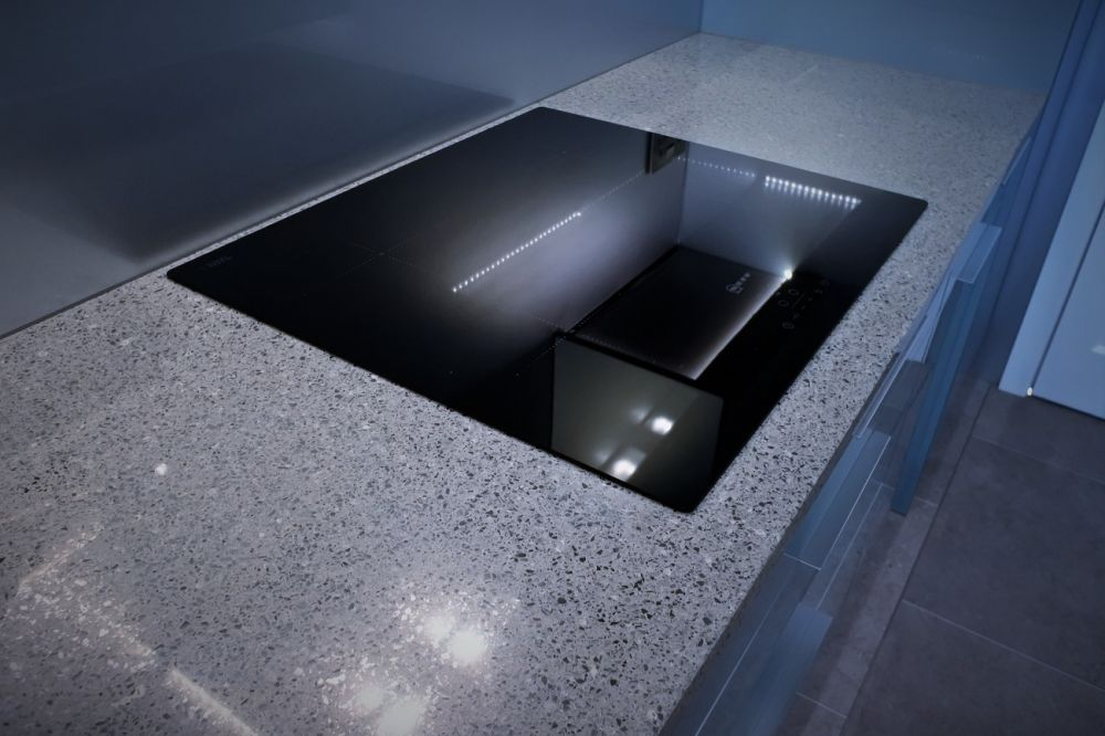 Silestone chrome with neff glass induction hob