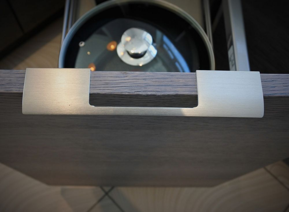 Brushed Steel trim handle on Blue Steel kitchen Door