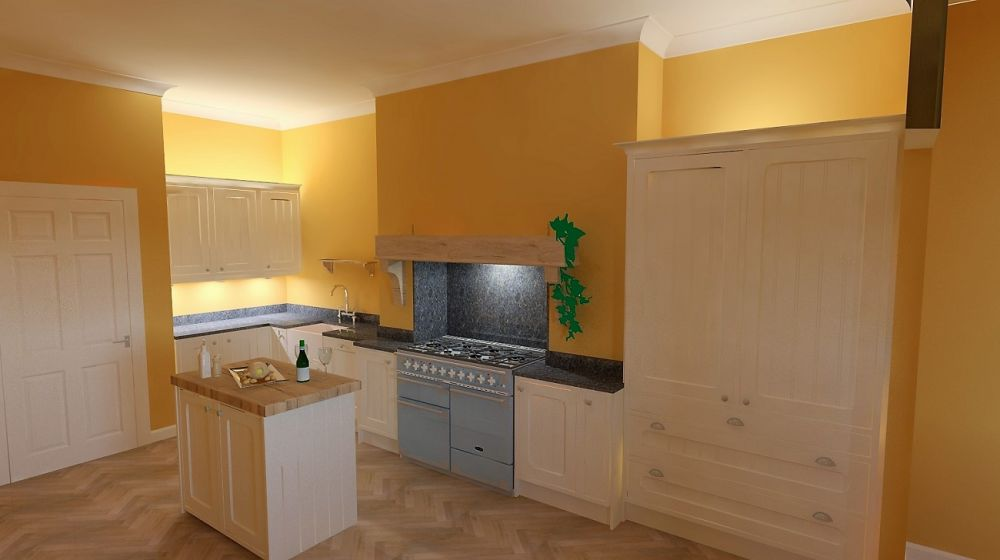 """Tongue & Groove shaker in frame kitchen in Porcelain. Roman Black granite with Rangemaster in China Blue, Oak herringbone """"Dutch Style"""" flooring with Farrow & Ball """"India Yellow"""" (No66) on walls"""