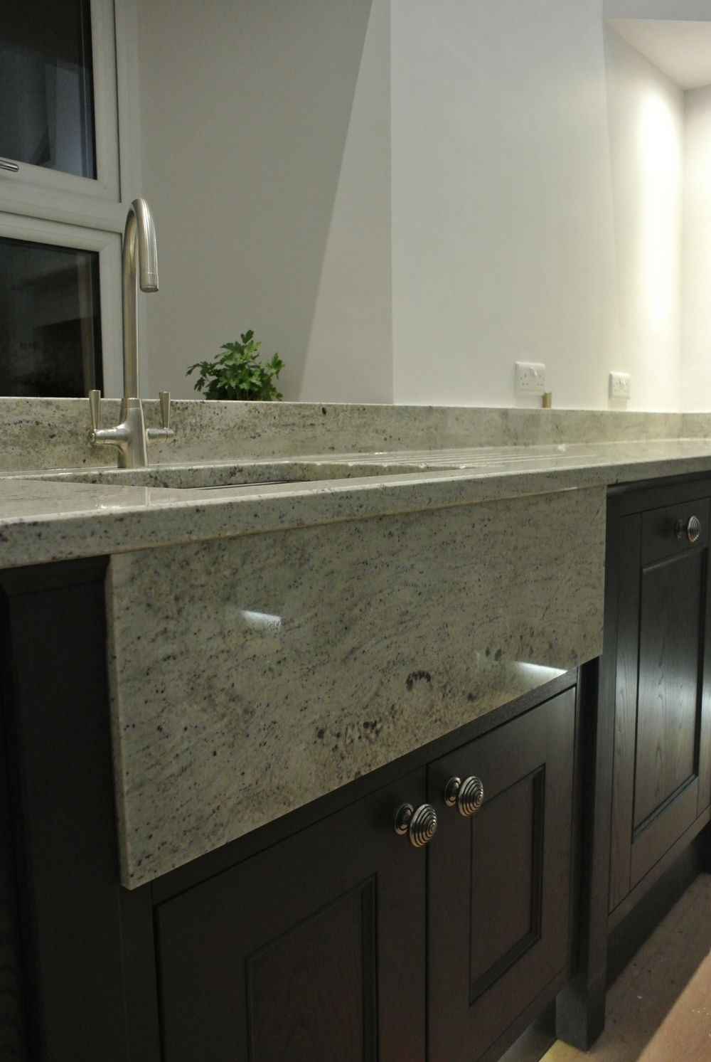 River White Granite Downstand on Inframe kitchen