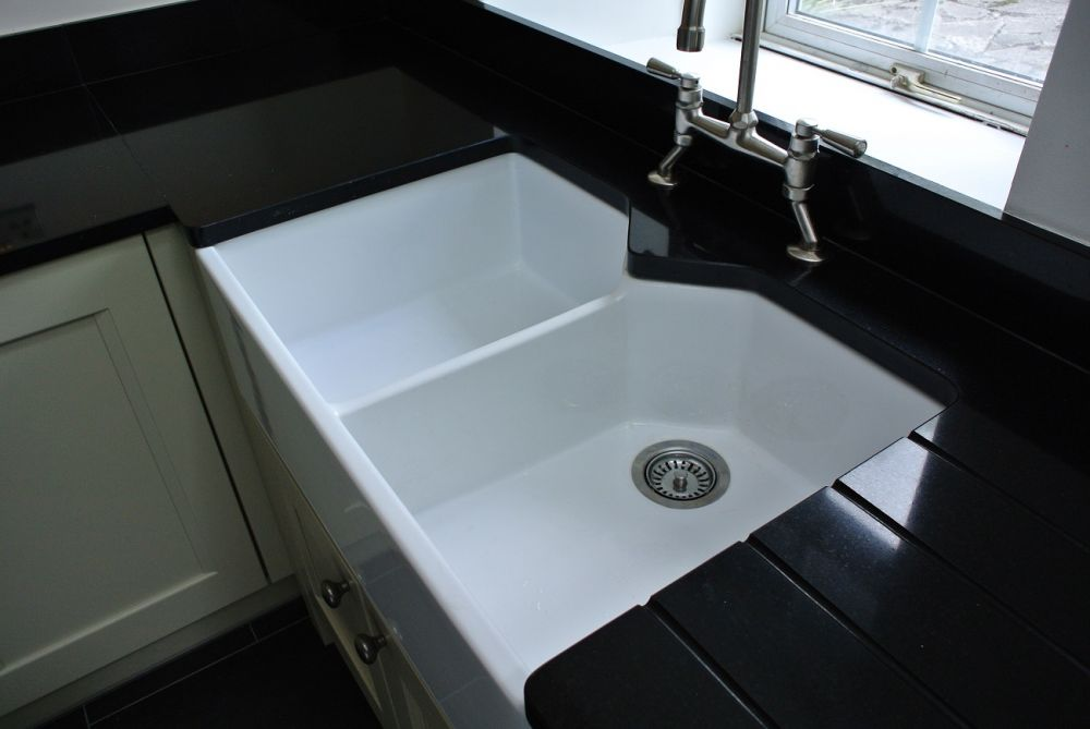 Rangemaster farmhouse sink with Roman Black 30mm Granite