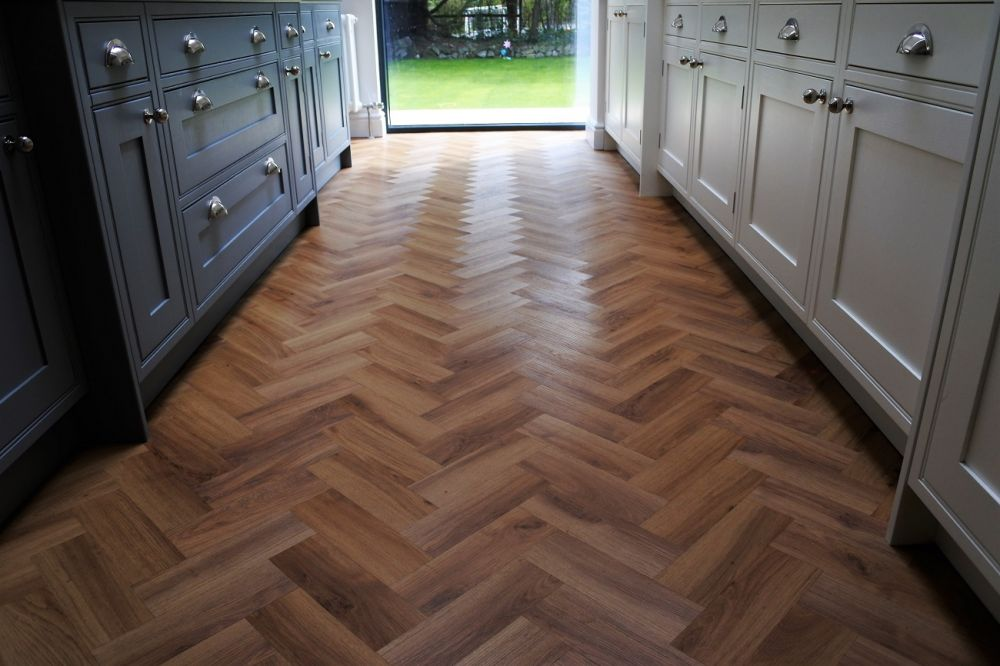 Oak herringbone LVT. We can supply new flooring to your new kitchen and bedrooms. We have ranges to suit any style.