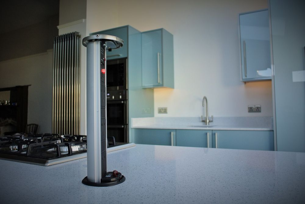 More suited to the modern kitchen application, the pop up power tower. Three 240v plug points and Two USBs for charging smart devices