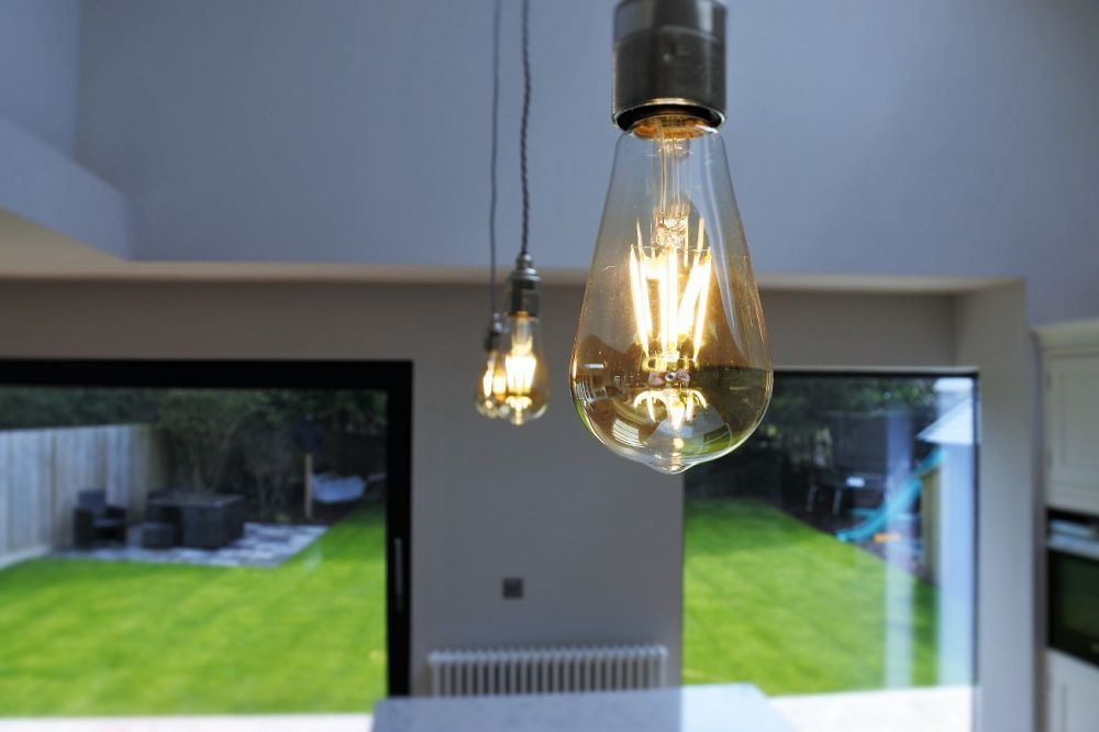 Exposed squirrel cage filament bulbs with braided flex....Stunning
