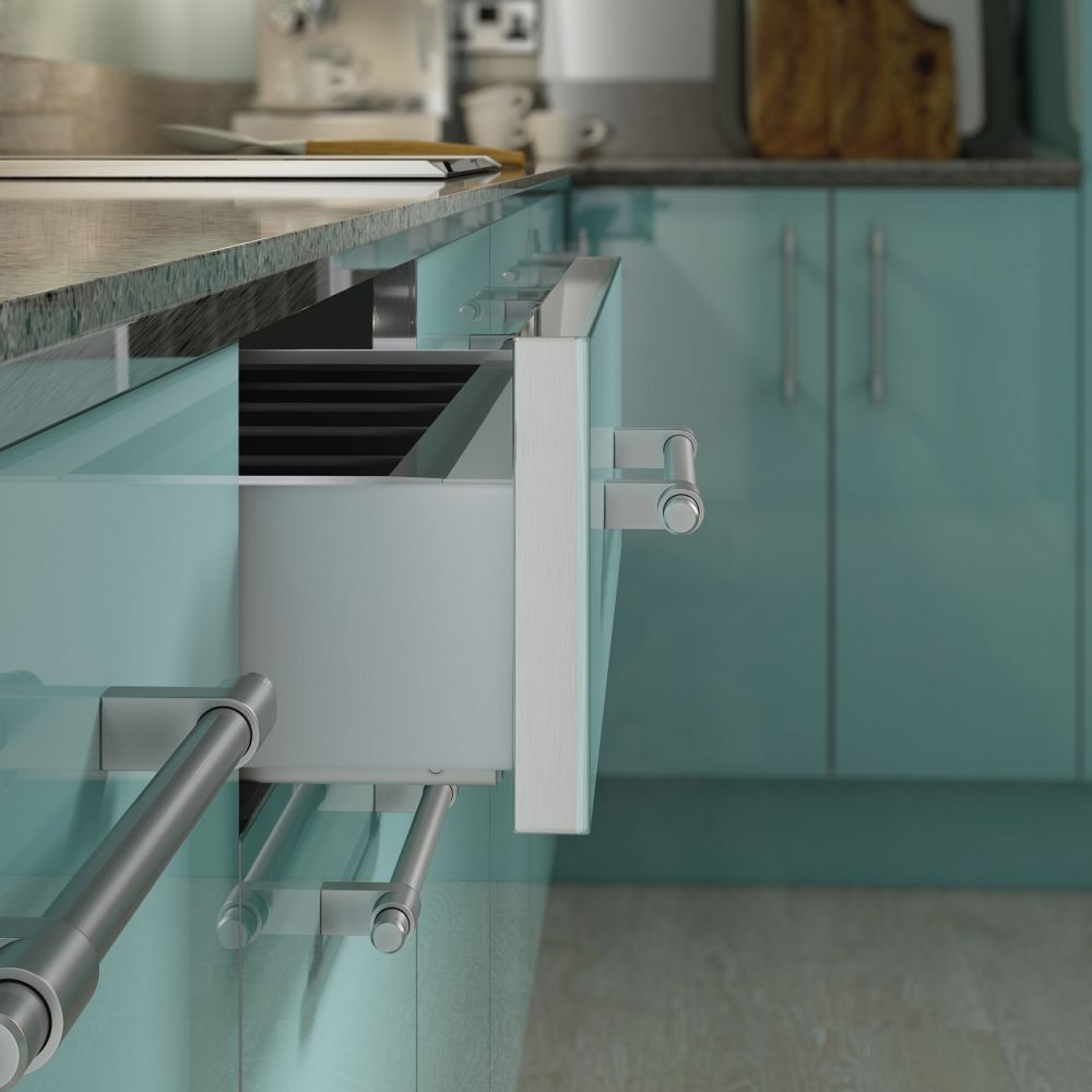 Glass effect finish option around doors and drawers