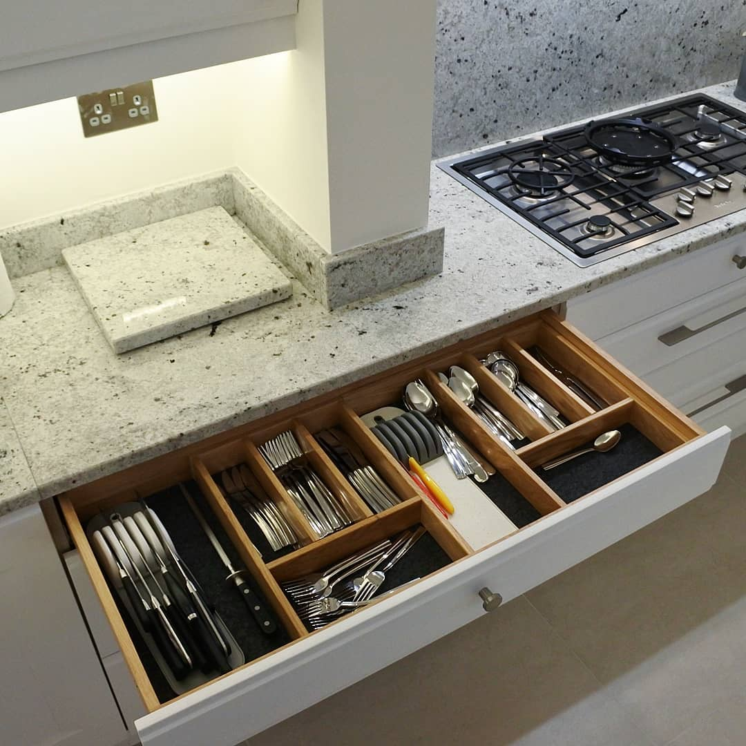 Bespoke kitchen with hand made cutlery drawer | Newton Mearns