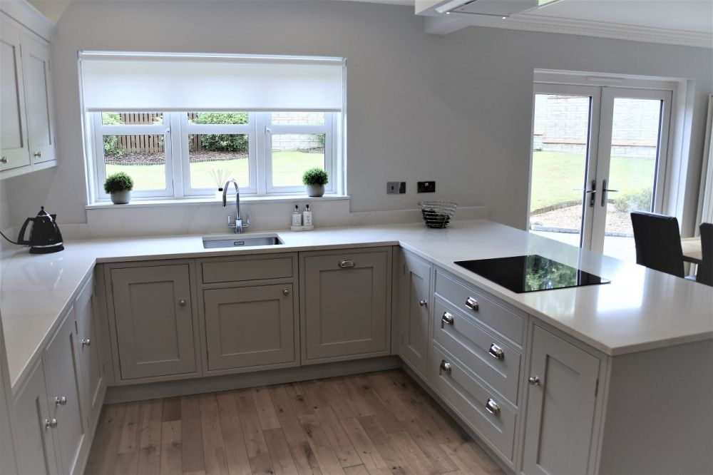 Shaker Inframe Kitchen with Armac Martin Polished Nickel Finished in Farrow & Ball Dimpse (no 277)