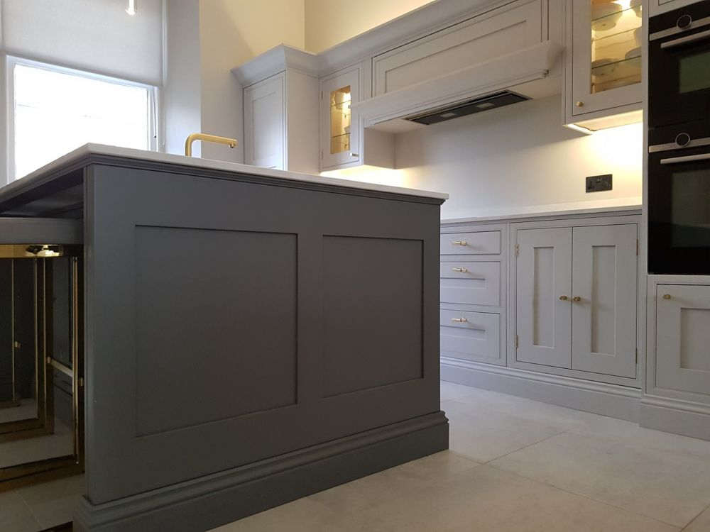 Bespoke Inframe Kitchen in Cornforth White (228) & Little Greene Dark Lead (118) with Buster & Punch Ironmongery