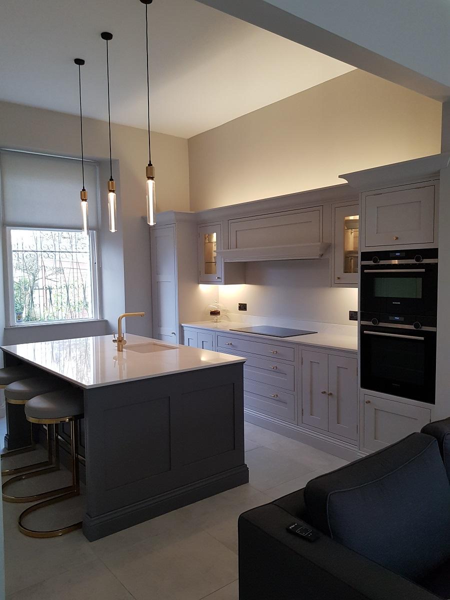 Arundel inframe kitchen in cornforth white and little greene dark lead and calacatta gold