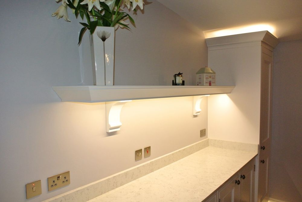 Bespoke floating shelf with decorative corbels