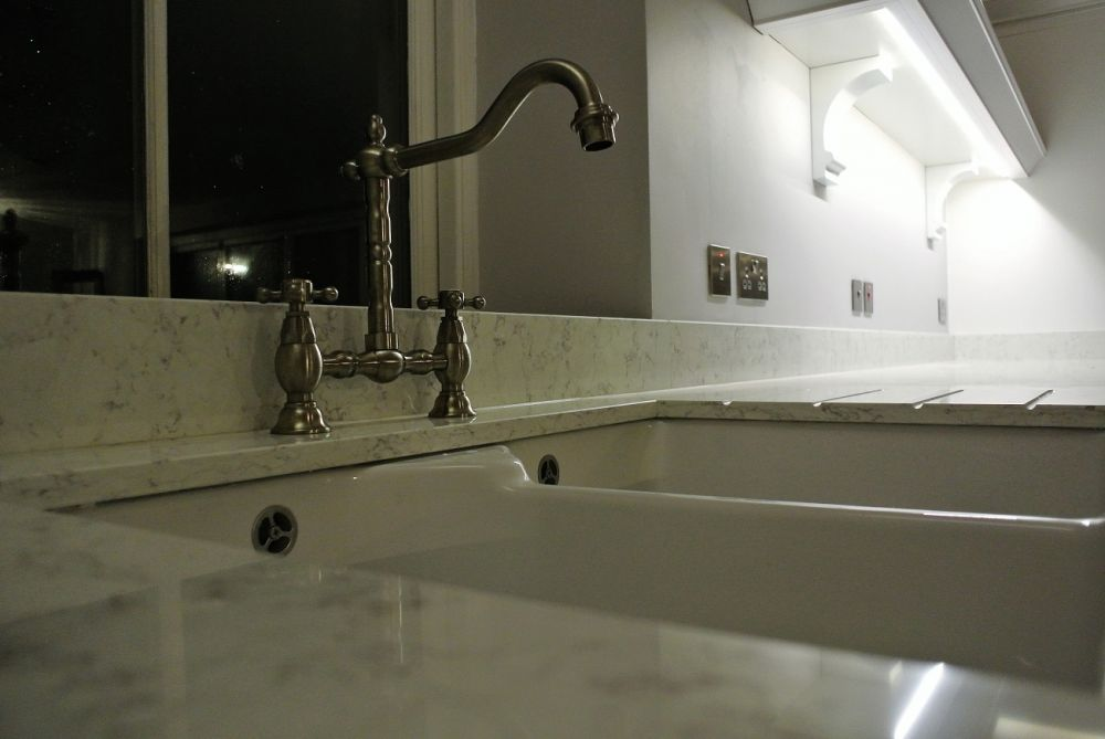 Blanco Orion Silestone with farmhouse sink