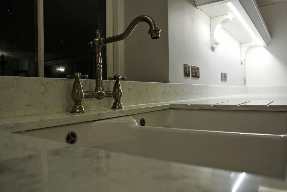 Blanco Orion Silestone with farmhouse sink