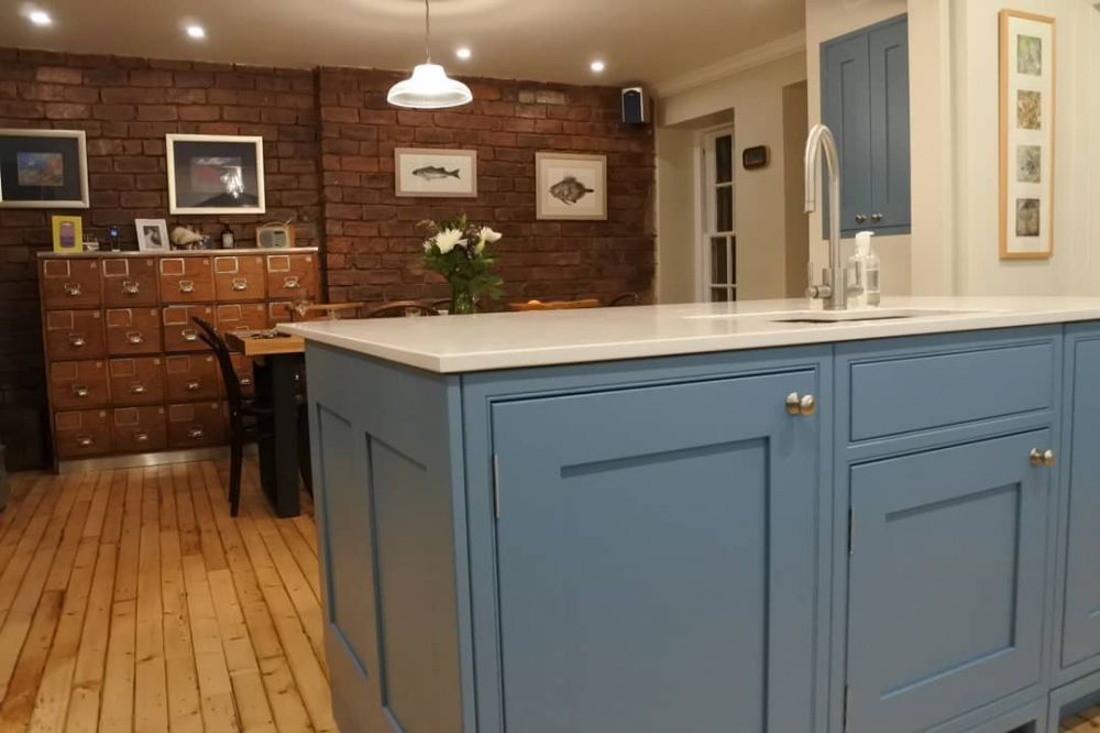 Beautiful Kitchen in Stone Blue by Farrow & Ball