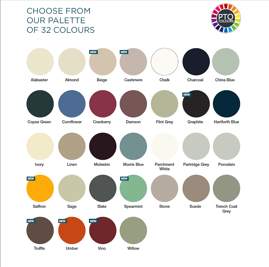 choose from our extensive 32 colour palette