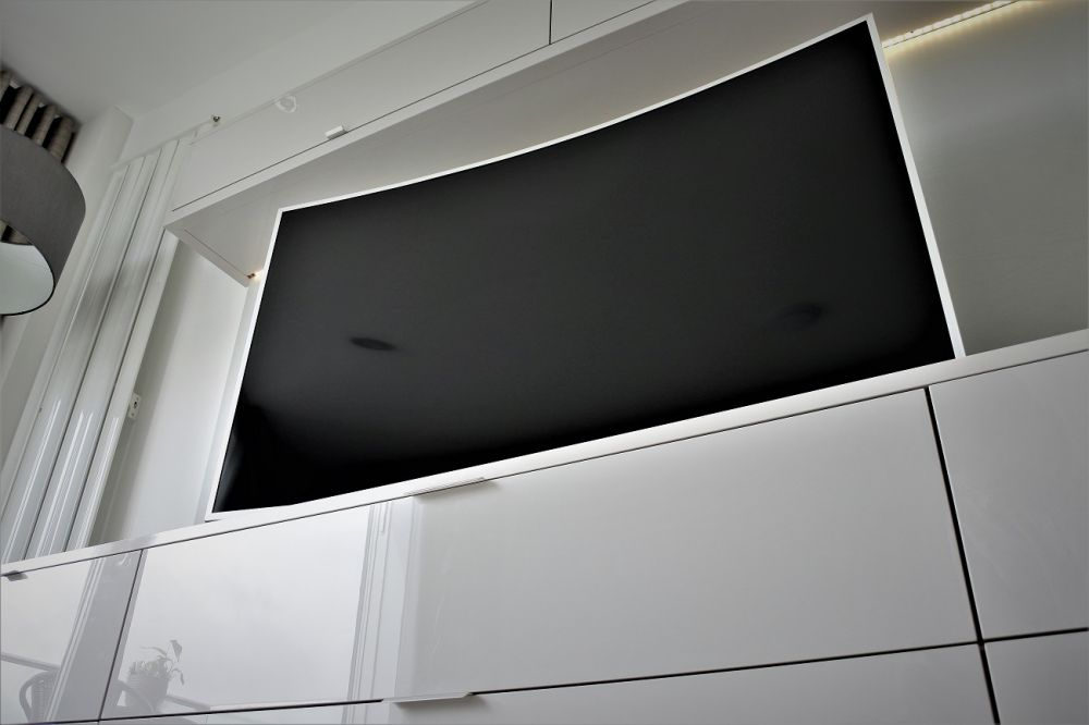 "Media Wall with 46"" Samsung Curved TV"